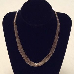 CAROLYN POLLACK 30 Strand Liquid Silver Necklace